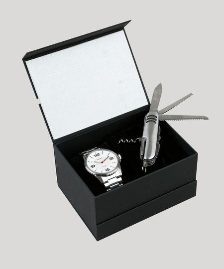 32c56bda27f Kit de Relógio Analógico Orient Masculino + Canivete - MBSS1288 K270S2SX  Prateado - cea