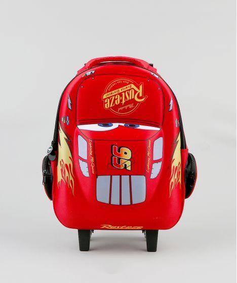 020ab12349159c Mochila Escolar Infantil Carros com Rodinhas 3D Vermelha - cea
