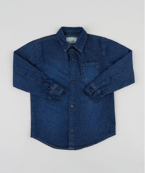 99131ecc80a97 Camisa Jeans Infantil com Bolso Manga Longa Azul Escuro - cea
