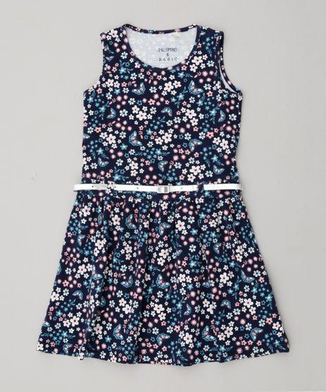 Vestido-Infantil-Estampado-Floral-com-Cinto-Metalizado-Azul-Marinho-9318140-Azul_Marinho_1