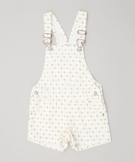 34ddc2ba8f Menor preço em Jardineira Color Infantil Estampada Mini Print Off White