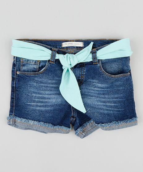Short-Jeans-Infantil-com-Faixa-para-Amarrar-Azul-Medio-9376013-Azul_Medio_1