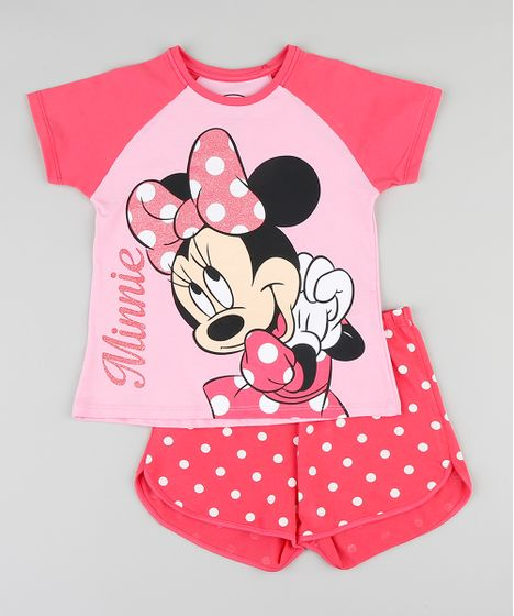 3843940e0b5d26 Pijama Infantil Minnie Raglan Manga Curta Rosa