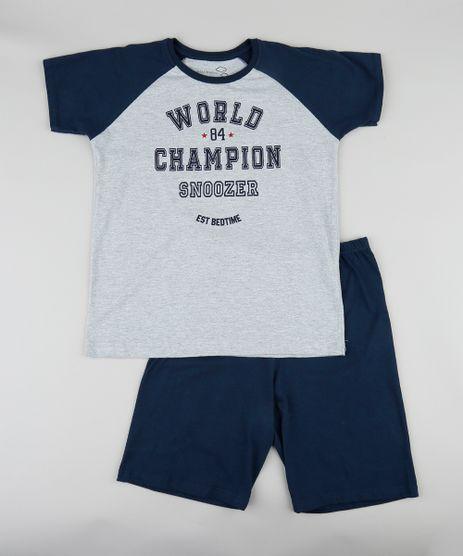 Pijama-Infantil--World-Champion--Raglan-Manga-Curta-Cinza-Mescla-9341954-Cinza_Mescla_1