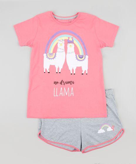 Pijama-Infantil-Lhama-Manga-Curta-Rosa-9340355-Rosa_1