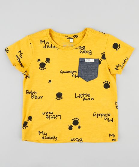Camiseta-Infantil-Estampada-de-Patinhas-com-Bolso-Manga-Curta-Gola-Careca-Mostarda-9407312-Mostarda_1