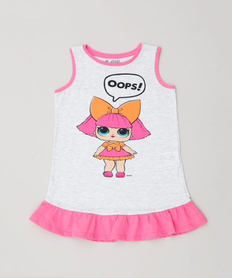 Camisola-Infantil-LOL-Surprise-com-Glitter-e-Babado-Sem-Manga-Cinza-Mescla-Claro-9348484-Cinza_Mescla_Claro_1