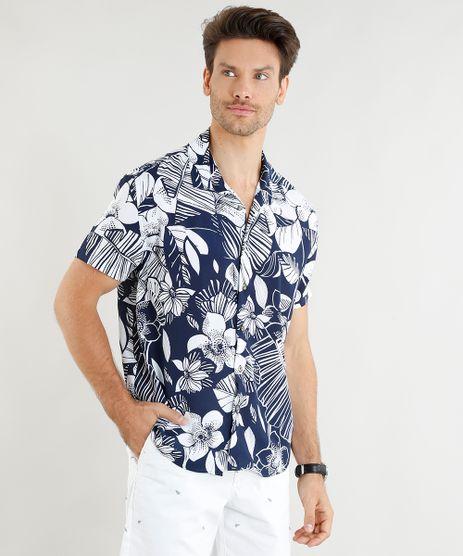 Camisa-Masculina-Relaxed-Estampada-de-Folhagens-Manga-Curta-Azul-Marinho-9399017-Azul_Marinho_1