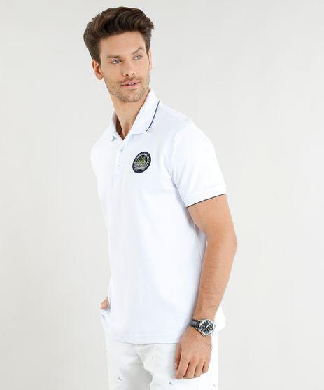 ab149c1ac4 Polo-Masculina-com-Bordado-Manga-Curta-Branca-9428055-