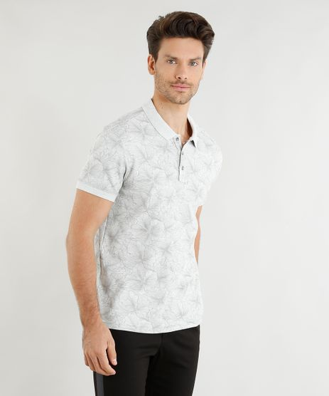 Polo-Masculina-Slim-Fit-Mescla-Estampada-Floral-Manga-Curta-Off-White-9328896-Off_White_1