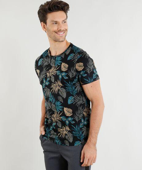 Camiseta-Masculina-Slim-Fit-Estampada-de-Folhagens-Manga-Curta-Gola-Careca-Preta-9199293-Preto_1