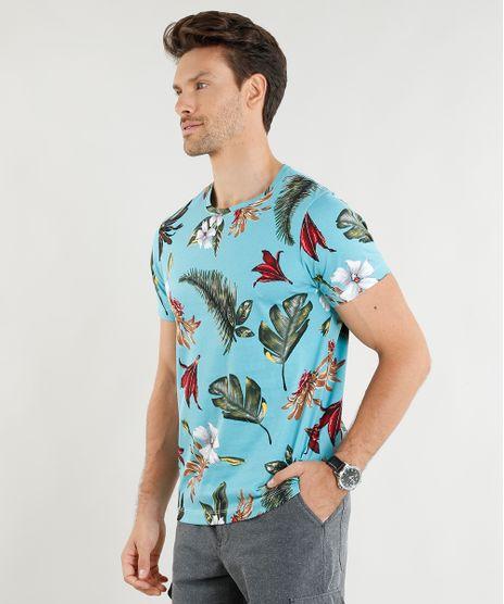 0c47853e4f Camiseta Masculina Slim Fit Estampada de Folhagens Manga Curta Gola Careca  Azul Claro - cea