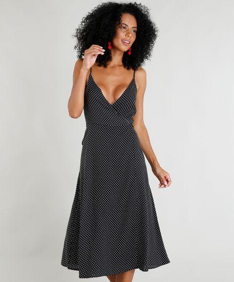 Vestido-Feminino-Midi-Envelope-Estampado-de-Poas-Alcas-Finas-Decote-V-Preto-9376491-Preto_1