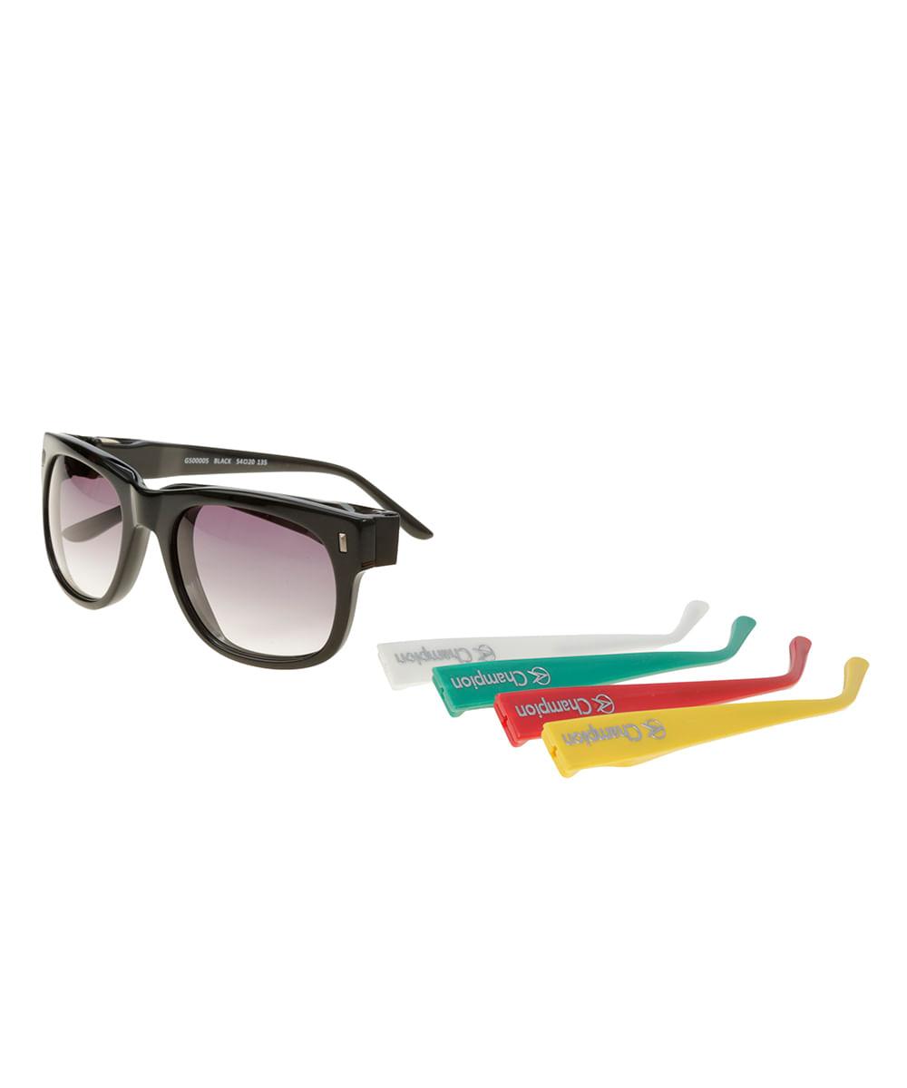 Óculos de Sol Quadrado Troca Hastes Champion Preto - ceacollections 7be76a8187