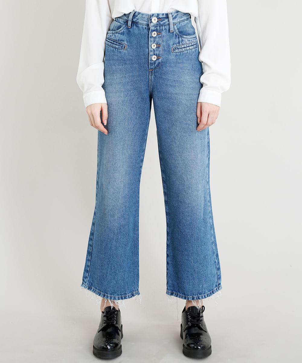 c45706b59 Calça Jeans Feminina Pantalona Mindset Cintura Baixa com Botões Azul ...