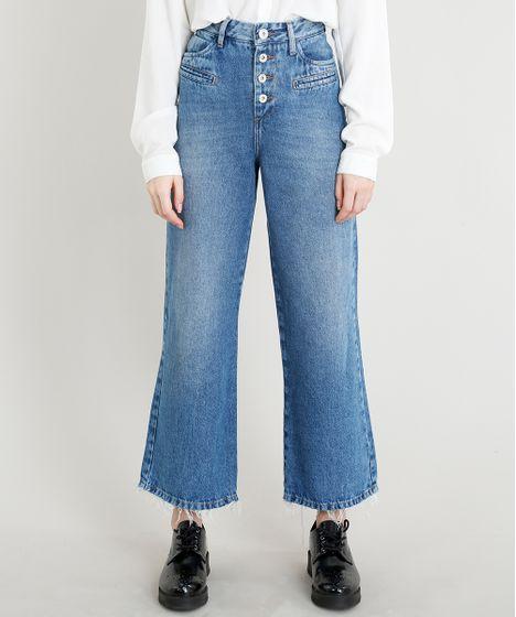 e1302f57c Calça Jeans Feminina Pantalona Mindset Cintura Baixa com Botões ...