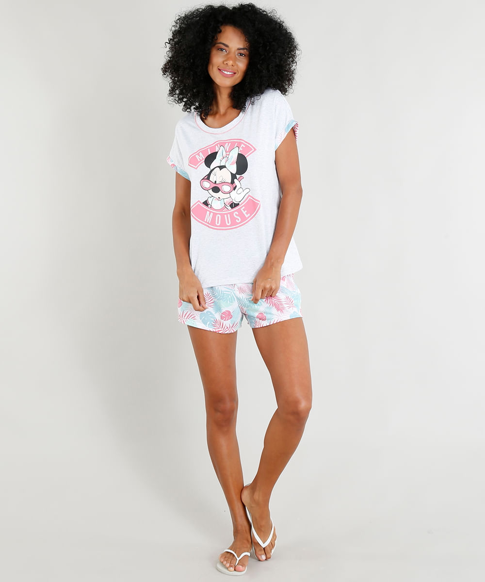 1e8381e16 Pijama Feminino Minnie Mouse Manga Curta Cinza Mescla - cea