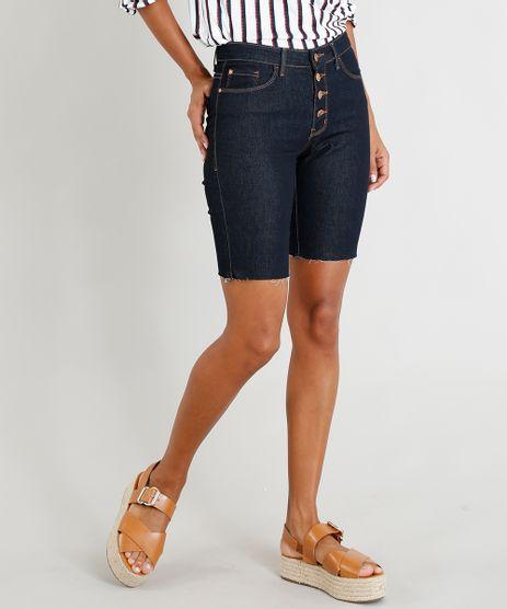 Bermuda-Jeans-Feminina-Ciclista-com-Botoes-Azul-Escuro-9454248-Azul_Escuro_1
