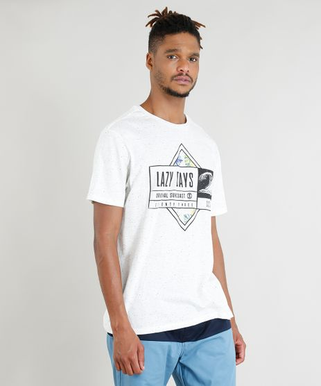 Camiseta-Masculina--Lazy-Days--Manga-Curta-Gola-Careca-Off-White-9402645-Off_White_1