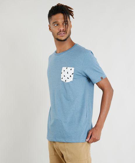 Camiseta-Masculina-com-Bolso-Estampado-de-Tubaroes-Manga-Curta-Gola-Careca-Azul-9381090-Azul_1