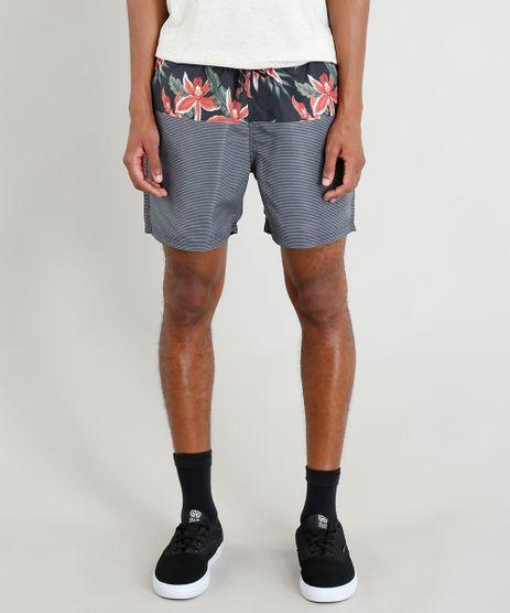 Short-Masculino-com-Estampa-Floral-e-Cordao-Preto-9321614-Preto_1