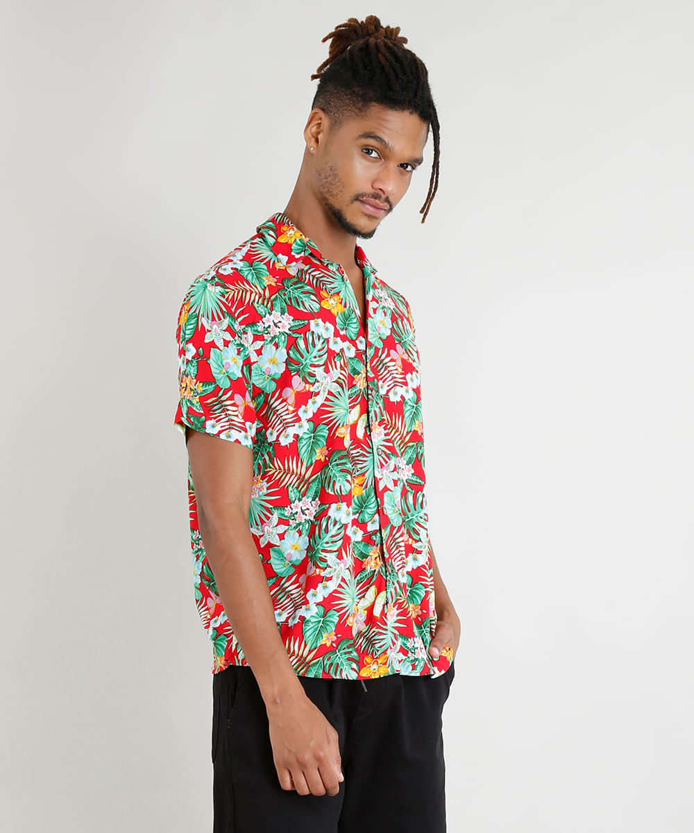 6ad4a77ab Camisa Masculina Manga Curta Estampada Floral Tropical Vermelha - cea