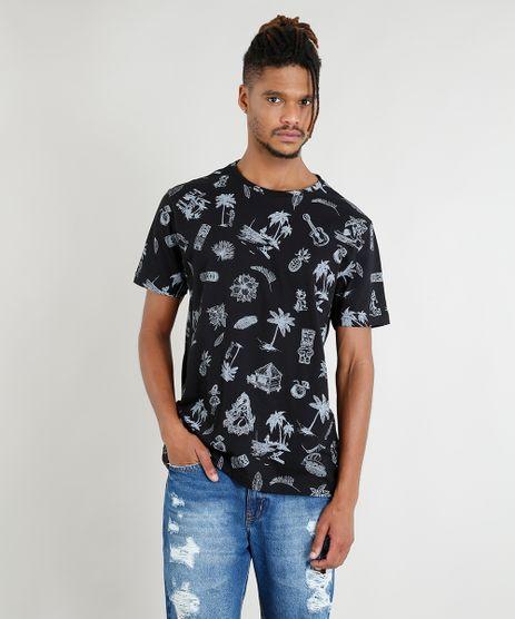 Camiseta-Masculina-Estampada-Manga-Curta-Gola-Careca-Preta-9409240-Preto_1