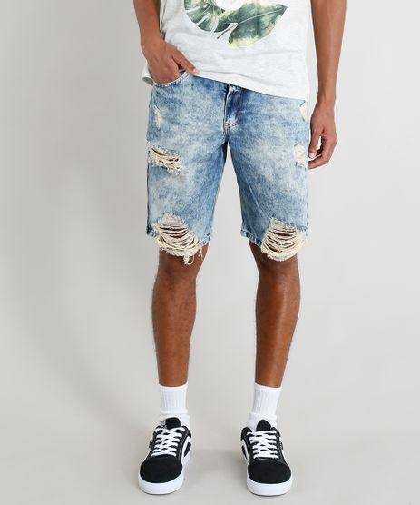 Bermuda-Jeans-Masculina-Destroyed-Marmorizada-Azul-Medio-9386394-Azul_Medio_1