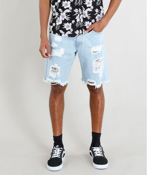 f376ab315b80b4 Bermuda Jeans Masculina Destroyed Azul Claro - cea