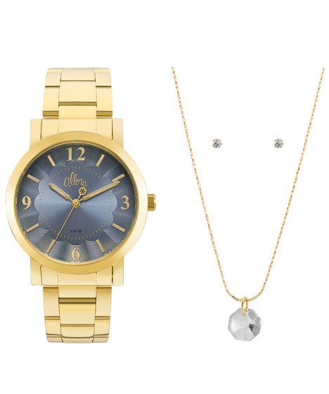 9c31f3b9186 Kit Relógio Allora Feminino Algodão Doce AL2035FNA K4A - Dourado - cea