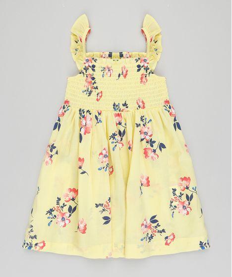 ccec5f479f1d0 Vestido Infantil Estampado Floral com Babado na Alça Amarelo - cea
