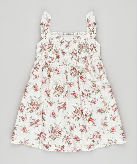 5e1c34874 Vestido Infantil Estampado Floral com Babado na Alça Off White - cea
