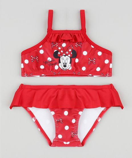 Biquini-Infantil-Minnie-Estampado-de-Poa-com-Protecao- b6392383bb
