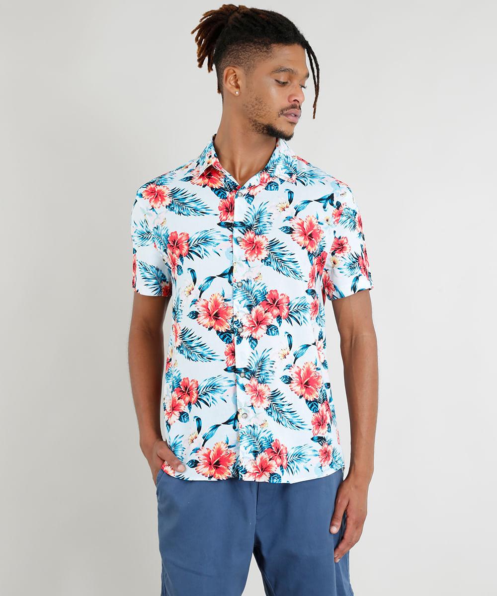 e37331100 Camisa Masculina Manga Curta Estampada Floral Tropical Azul Claro - cea