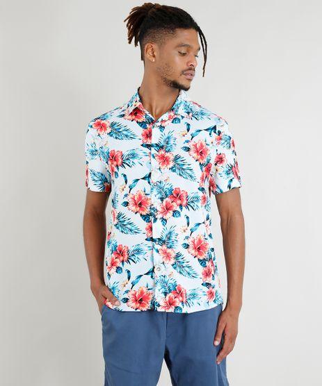 Camisa-Masculina-Manga-Curta-Estampada-Floral-Tropical-Azul- a097cfdf366a9