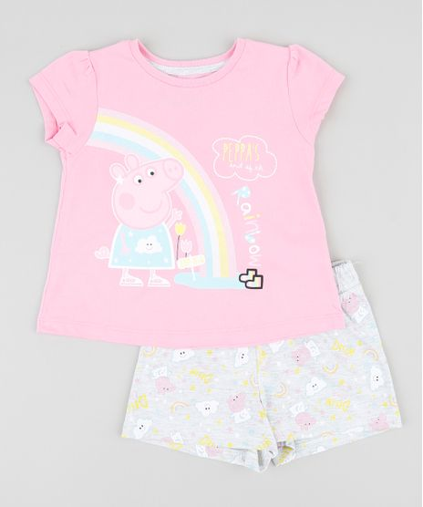 Pijama-Infantil-Peppa-Pig-Manga-Curta-Rosa-9337114-Rosa_1