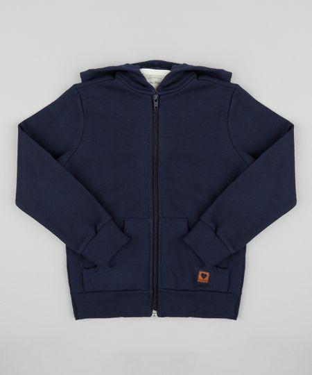 b713927ac8 Blusão Infantil Básico em Moletom Felpado com Capuz Azul Marinho