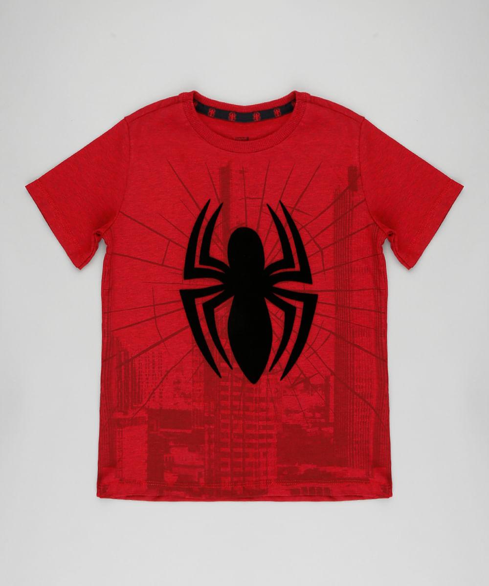 Camiseta Infantil Homem Aranha Manga Curta Gola Careca Vermelha - cea 0cb098f3469fe