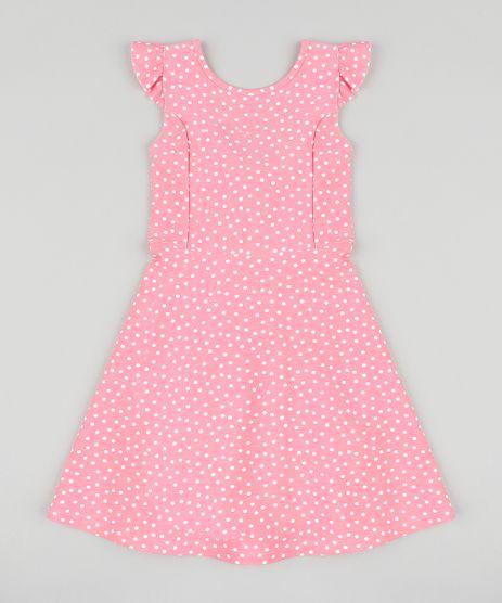 Vestido-Infantil-Estampado-de-Poa-com-Babado-e-No-Sem-Manga-Rosa-9426143-Rosa_1
