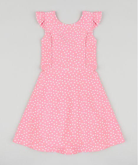 a13e7972df635 Vestido Infantil Estampado de Poá com Babado e Nó Sem Manga Rosa - cea