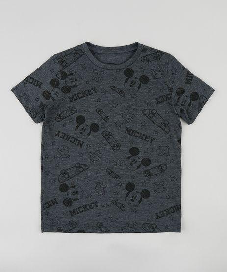 Camiseta-Infantil-Mickey-Mouse-Estampada-Manga-Curta-Gola-Careca-Cinza-Mescla-Escuro-9411982-Cinza_Mescla_Escuro_1