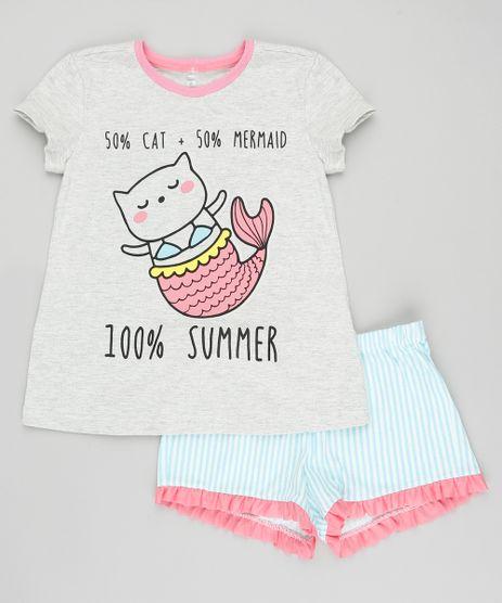 Pijama-Infantil-Gato-Sereia-Manga-Curta-com-Estampa-Listrada-Cinza-Mescla-9405397-Cinza_Mescla_1