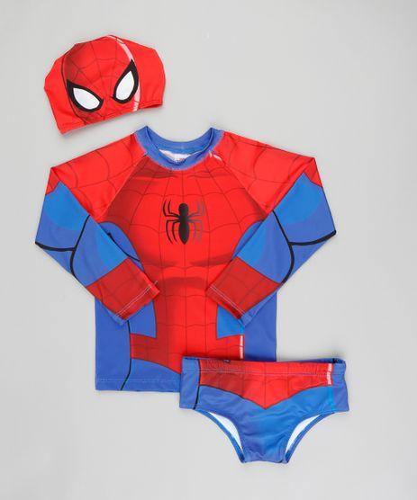 Conjunto-de-Camiseta-de-Praia-Infantil-Homem-Aranha---Sunga---Touca-Azul-Royal-9300705-Azul_Royal_1