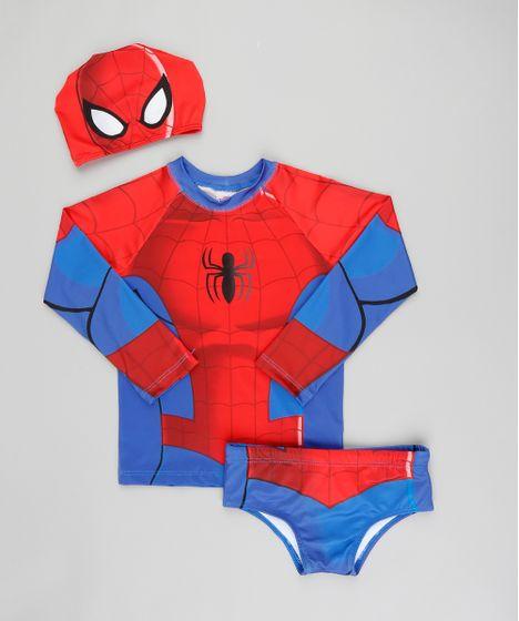 Conjunto de Camiseta de Praia Infantil Homem Aranha + Sunga + Touca ... 86ffe85ec01