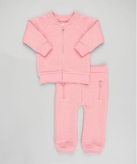 37d2fc15b77983 Conjunto Infantil de Blusão em Moletom Canelado + Calça Rosa - cea