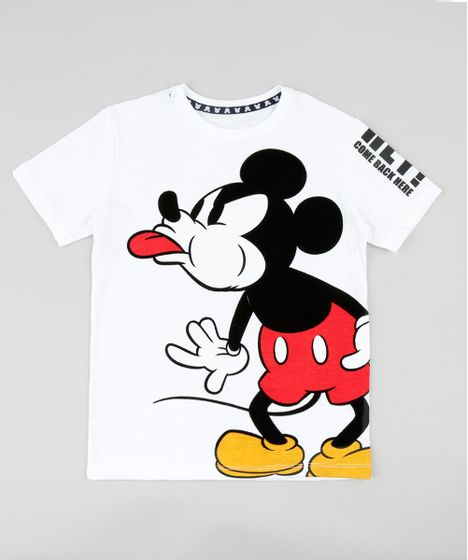 Camiseta Infantil Mickey Mouse Manga Curta Gola Careca Off White - cea 3ce79fa865a