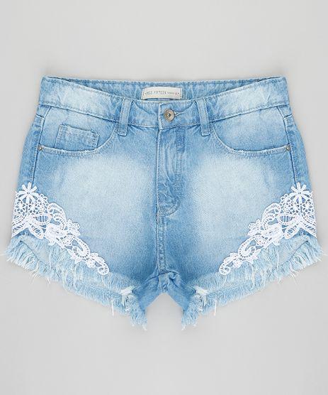 Short-Jeans-Infantil-com-Renda-e-Barra-Desfiada-Azul-Claro-9418359-Azul_Claro_1