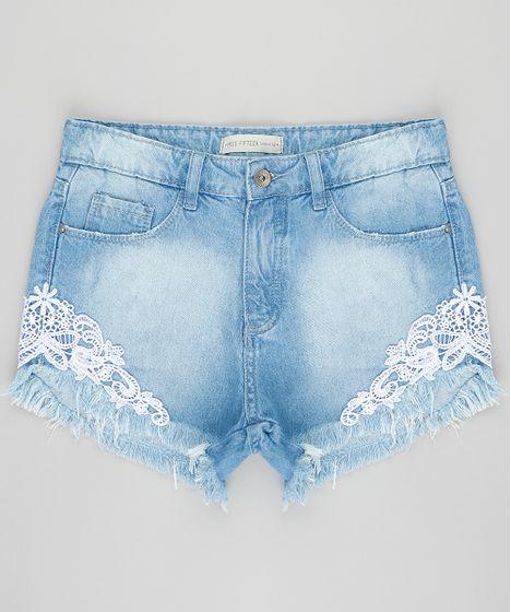 149f3e60b Short jeans infantil com renda e barra desfiada azul claro cea jpg 468x560  Short jeans barra