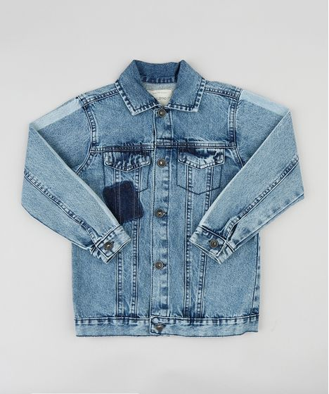 8b60ce15ec151 Jaqueta Jeans Infantil com Faixas nas Mangas Azul Escuro - cea