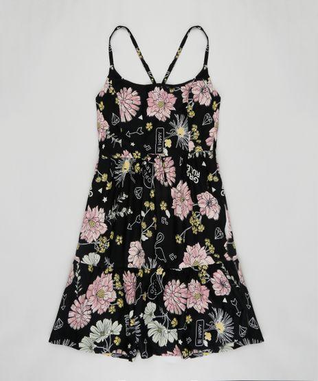 Vestido-Infantil-Estampado-Floral-com-Tiras-Decote-Redondo-Preto-9182795-Preto_1